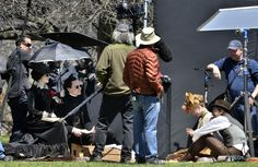 Tom Hiddleston, Jessica Chastain , Charlie Hunnam and Mia Wasikowska on the set of 'Crimson Peak' on May 6, 2014 (x)