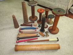Lot of 25 Vintage Textile Mill Spools Thread Candle Holders Bobbins | eBay