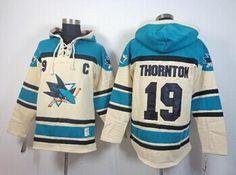 49ab7180a San Jose Sharks  19 Joe Thornton Cream Sawyer Hooded Sweatshirt Stitched  NHL Jersey