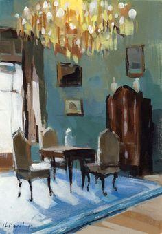 Blue Room with Chandelier by David Lloyd