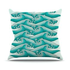 "Pom Graphic Design ""Ocean Retro Vibes"" Green Teal Throw Pillow from KESS InHouse"
