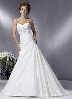 A. Wedding Dress General Description  Quick Overview: Spaghetti Halter Strap Sweetheart A-line Wedding Dress  Fabric: taffeta  Technics: beads  Closur