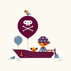 bob daly illustration- love that the boat is powered by a narwhal :) Love Illustration, Character Illustration, Graphic Design Illustration, Graphic Art, Decoration Pirate, Bateau Pirate, Cute Photography, Art For Kids, Character Design