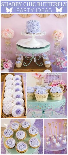 A shabby chic butterfly girl birthday party with lots of lavender and lace and pretty pastels! See more party planning ideas at CatchMyParty.com!
