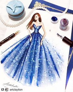 with ・・・ Artclaytion x Dreamy Blue Gown from 💙 Nail Polish on Paper ' Gown Drawing, Dress Design Drawing, Dress Design Sketches, Fashion Design Sketchbook, Fashion Design Drawings, Fashion Sketches, Dress Illustration, Fashion Illustration Dresses, Wedding Dress Sketches