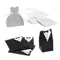 $1 for a 10-count pack of Bride & Groom Wedding Favor Boxes at Dollar Tree - go buy some! You can buy online but have to buy $36 worth (don't need 360!)
