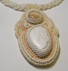 Beaded howlite necklace / beadwork necklace / by Martinia on Etsy, €50.00