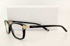432418468d9c Brand New VERSACE Eyeglasses Frames 3156 GB1 BLACK for Women 100% Authentic