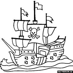 halloweenpiratespicturestocolor boat ship speedboat online coloring pageskids - Pirate Coloring Pages
