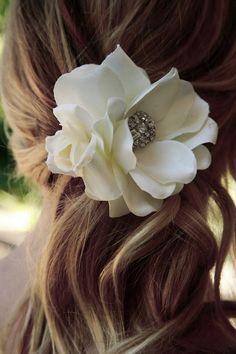 Flower in hair for wedding day? Happy medium?  @Katheryne Austin Mardock