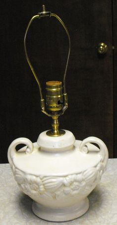 Vintage 1930's 40's Brush McCoy Art Pottery Double Handled Electric Table Lamp   eBay