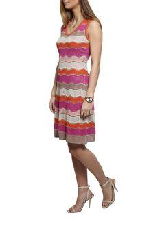 M by Missoni Pink And Orange Knit Dress with Gold Detailing - Jessimara Outerwear Women, Feminine Style, Missoni, Fashion Boutique, Knit Dress, Summer Dresses, Orange, Elegant, Pretty