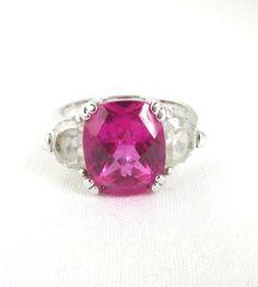 Vintage Pink Glass Ring Sterling Silver by LeesVintageJewels