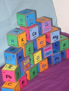 Wooden blocks (Periodic Table).  Yes, I would buy/make this for my kids. I'm a geek.