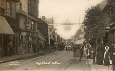 """""""HIGH STREET, SUTTON"""" OLD REAL PHOTO POSTCARD Old Postcards, Photo Postcards, Sutton England, Old Photos, Vintage Photos, Sutton Surrey, Saint Helier, High Street Shops, Pen Drawings"""