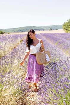 Lavender Fields in Provence - Veronica Beard top c/o // Spell & The Gypsy skirt // Madewell sandals // Jadetribe tote // Vintage sunnies July 31, 2017