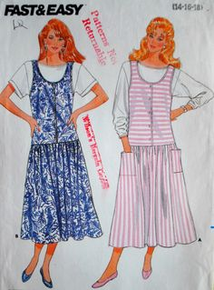 Uncut Vintage 1980s Misses Sleeveless Loose Fit Bodice Dirndl Skirt Jumper & Pullover Top Size 14 16 18 Sewing Pattern Butterick 4806 Easy
