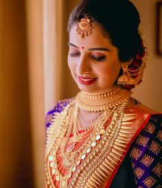 Exclusive Saree Blouse designs for every South Indian Bride! Indian Wedding Bride, Indian Wedding Jewelry, South Indian Bride, Saree Wedding, Wedding Blouses, Bridal Jewellery, Indian Weddings, South Indian Blouse Designs, Kerala Saree Blouse Designs