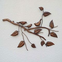 CONTEMPORARY 'BIRDS ON BRANCHES' METAL WALL ART