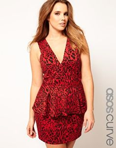 Peplum Dress in Animal Print