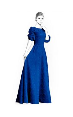 Long Dress - Sewing Pattern #4446. Made-to-measure sewing pattern from Lekala with free online download.
