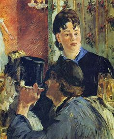 """""""The Waitress"""" by French artist - Édouard Manet Oil on canvas, x cm. *Note: Also known as """"The Beer Serving Girl"""". Renoir, Camille Pissarro, Oil Painting On Canvas, Canvas Art, Edouard Manet Paintings, Paul Cézanne, Francisco Goya, Berthe Morisot, Photo Images"""