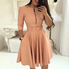 Casual dress - Women fall half sleeve tunic party dress o neck solid zipper belted pleated casual office dress vestidos mujer – Casual dress Mode Outfits, Dress Outfits, Fashion Dresses, Fashion Clothes, Cute Dresses, Casual Dresses, Dresses For Work, Dresses Dresses, Dresses Online