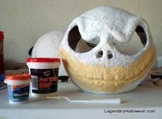 Jack Skeleton Mask instructions (Cheap Hard hat, Punch Balloon, Paper Mache & Ultra Light Spackle) DIY by anastasia