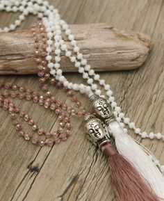 Silver Colored Buddha Bead Necklace with Tassel