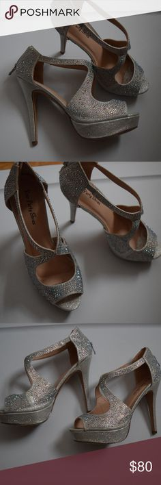 Prom/Wedding Heels Super sparkly glittery heels. Worn one time Shoes Heels