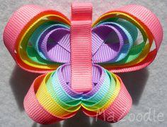 Rainbow Butterfly Hair Bow