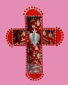 El Corazon Wall Shrine, Red – Oklahoma Milagros Charms, Mexican Folk Art, Room Accessories, Day Of The Dead, Happy Valentines Day, Appreciation, Oklahoma, Symbols, Sculpture