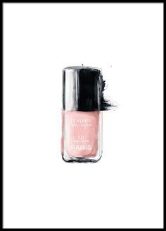 Poster mit Illustration vom Chanel-Nagellack. Das Motiv ist in Rosa und Schwarz gehalten und passt so richtig gut zu unseren anderen Fashion- und Modepostern, wie z.B. unserem Lippenstift-Poster von Chanel. www.desenio.de
