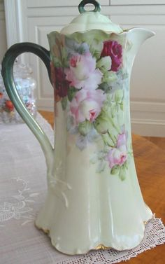 antique limoges chocolate pot | antique chocolate I always fill them with flowers~~