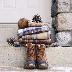 Sorel duck boots and plaid