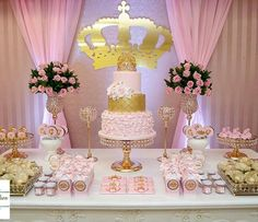 pink and gold party decoration Princess Theme, Baby Shower Princess, Princess Birthday, Baby Birthday, 1st Birthday Parties, Birthday Ideas, Baby Shower Parties, Baby Shower Themes, Baby Shower Decorations