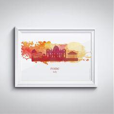 Poster para decoração com download grátis! Aquarela Roma - Italia