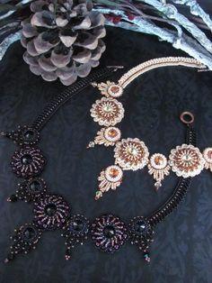 (5) Adı: 'Takı: Necklace' Sahara Sunset '- Beadweaving