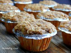 Streuseled Apple Oatmeal Cinnamon Chip Muffins, a perfect breakfast from NoblePig.com.