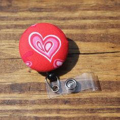 Heart Badge Reel, Valentines, Pink, ID holder, Retractable,Swivel Clip,RN, CnA, Coach, Teacher, Fabric Badge by TheNerdyFatCat on Etsy