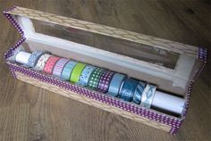 Washi Tape DIY organiser from old aluminum foil box