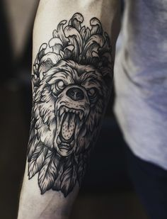 amazing bear #linework #dotwork #tattoo