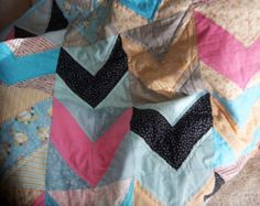 SALE Modern Scrappy Chevron Baby Girl Quilt by Dreamy Vintage Sheets on Etsy