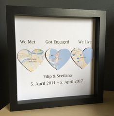 Map hearts in shadow box frame, Personalized Engagement, Anniversary or Wedding Gift, Personalized P Best Gift For Husband, Valentine Gifts For Husband, Christmas Gifts For Husband, Valentines Diy, Husband Gifts, 2018 Christmas Gifts, Heart Map, Diy Gifts For Men, Paper Anniversary