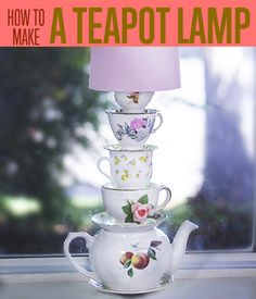 How to Make a Teapot Lamp | Get the full tutorial on how you can make an Alice in Wonderland inspired lamp. #DiyReady www.diyready.com