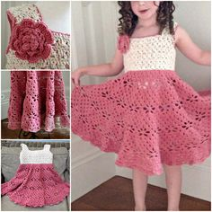 Little Girls Vintage Crochet Dress