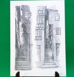 1977 Pen Sketch Print By Tübingen Artist Georg Salzmann, Treppen Zur Oberen Stadt - $7.95