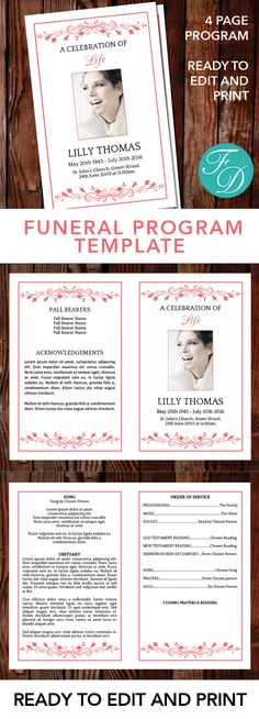 Printable Funeral Program Ready To Edit U0026 Print Simply Purchase Your Funeral  Templates, Download,