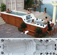 Luxema 8000 Swim Spa - Pool and Jacuzzi w/ Wood Siding Jacuzzi Design, Outdoor Spaces, Outdoor Living, Outdoor Decor, Outdoor Tub, Spa Jacuzzi, Pool Spa, Swimming Spa, New York Apartments