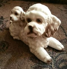 Ceramic Poodle Mother with Puppy Figurine by EmptyNestVintage on Etsy